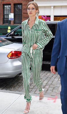 Style & Beauty Beautiful mint stripe silk trouser suit . The must have trend worn with designer eyewear.