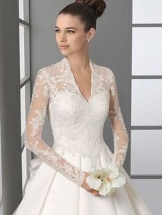 A-line V-neck Lace Long Sleeves Chapel Train Satin Wedding Dresses For Brideses