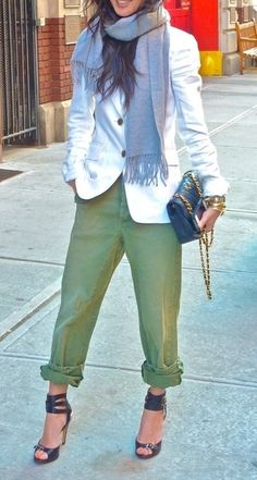 fashionable Fall transition...rolled up olive pants, killer heels, white jacket, scarf, classic, quilted, black, chain purse