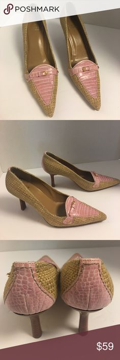 Stuart Weitzman raffia and pink croc leather pumps Gorgeous pair of Stuart Weitzman raffia pumps with pink crocodile embossed leather trim at the hill and vamp. Buckle detailing also at the vamp.  3 inch heel. Gently used condition. See photos. Stuart Weitzman Shoes Heels