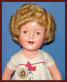 """Fantastic 22""""  Composition Shirley Temple Doll in tagged Scottie Dress!"""