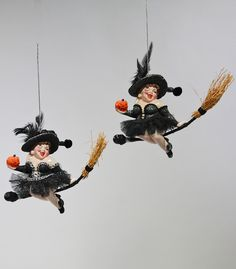 Witch On Broom Ornament - 2 Assorted.