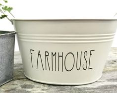 If you love Farmhouse Decor then here it is! We fell in love with these new additions to our new line of Rustic home decor, these metal buckets can be used for anything and the BEST part is you can custom your tin to say anything you would like! Measuring 9 wide by 5 tall. Tin is cream in Color  I use the best quality outdoor grade black vinyl for the lettering on each tin as well as a light coat of sealer to ensure quality. Choose between a variety of sayings whether you need this for a…