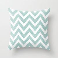Throw Pillow featuring robins egg blue chevron by Her Art