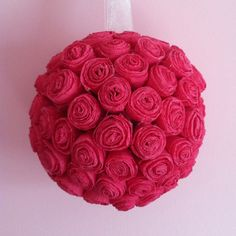 Crepe paper flower hanging ball for the home pinterest crepe pinterest inspired crepe paper flower ball mightylinksfo