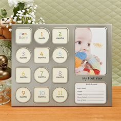 My First Year Baby Collage Frame in Pewter