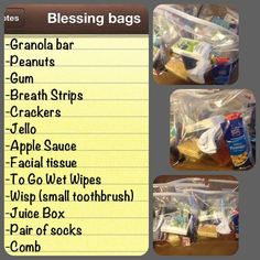 Blessing Bags! I put together blessing bags to keep in my car and give to homeless people when I see them.
