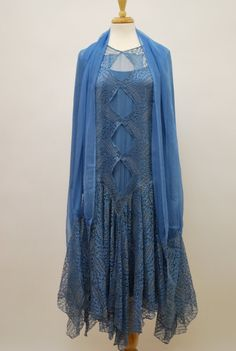 1920s Blue Lace Dress with Matching Wrap.