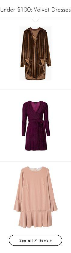 """Under $100: Velvet Dresses"" by polyvore-editorial ❤ liked on Polyvore featuring under100, velvetdresses, Topshop, MANGO, River Island, Dorothy Perkins, dresses, v neckline dress, v neck dress and brown velvet dress"