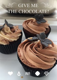 Dark chocolat cupcake with triple chocolat topping for the chocoholic.