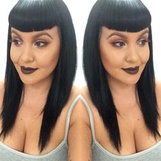 Bettie Bangs and locks were styled with Suavecita Pomade & Firm Hold Hairspray for this sleek look. Lips: SLAY. Photo via @miss.sandravee. #Suavecitapomade #Suavecita #Pomade #Hair #Hairstyle #Style #Bettiebangs #Bangs #Sleek #Straight #Suavecitalipstick #Slaylipstick #Suavecitaslay #Suavecitabeauty #Beauty #Cosmetics