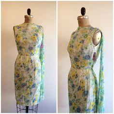 Vintage 1950's NOS Yellow Blue Chiffon Floral Formal Wiggle Dress 50's Wedding Party Dress Sash