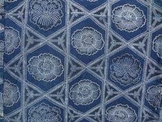 Shinei -Japanese Kimono Fabric Store-COTTON / ANTIQUE RARE! YOGI FABRIC / KATAZOME Design