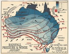 Rainfall Pressure and Winds. Old maps put the art in cartography - ABC News (Australian Broadcasting Corporation) Vintage Maps, Antique Maps, Map Of Continents, Wind Map, Tropic Of Capricorn, Pictorial Maps, Australia Map, Digital Storytelling, Old Maps