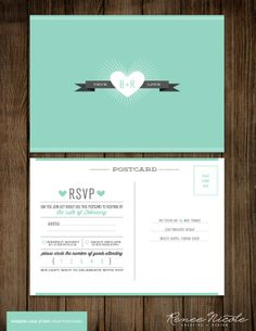 Cute! Like the number attending circles! Wedding RSVP Postcard