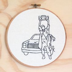 Say Anything hand embroidery hoop art, Wall art, Movies, 80's