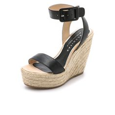 Paloma Barcelo Platform Wedge Espadrille Sandals (690 SAR) ❤ liked on Polyvore featuring shoes, sandals, black, black leather espadrilles, ankle strap sandals, ankle wrap espadrille, black ankle strap sandals and leather sandals