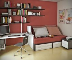 This mauve (appropriate color for boys and girls) workspace helps one calm down enough to focus on their work.