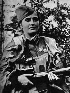"""Red Army Women. Best female snipers. Lieutenant Lyudmila Pavlichenko would """"go hunting"""" either alone or with Leonid Kutsenko  – who joined the division together with her – everyday at dawn lying still for hours or days waiting for an enemy. She often emerged the victor fighting a duel with German snipers."""