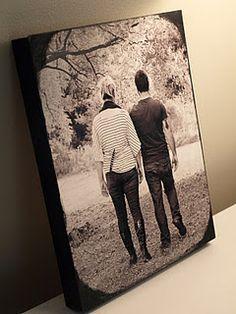 photos on wooden blocks