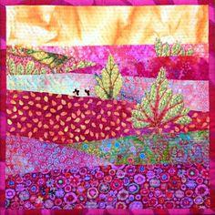 Kaffe Fassett landscape quilt, 30 x 30 cm: Morgonrodnad by Gunnel Wright.  Fria Tyglar quilt group (Sweden).