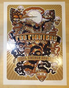 """Foo Fighters - silkscreen concert poster (click image for more detail) Artist: Guy Burwell Venue: Xcel Energy Arena Location: St. Paul, MN Concert Date: 8/22/2015 Size: 17 1/2"""" x 23 1/4"""" Edition: 280;"""