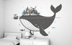 vinilo isla ballena (XXL) - vinilos infantiles para habitaciones bébés, niños, niñas por E-Glue estudio