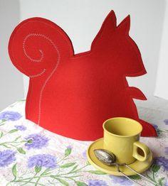 felt squirrel tea cozy - a perfect 35th birthday gift
