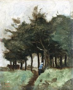 Hollow Trail Dominated by Trees by Jean-Baptiste-Camille Corot