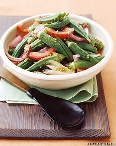 """The secret to cooking crisp-tender okra is a hot skillet. This recipe is from the """"Martha Stewart's Dinner at Home"""" cookbook."""