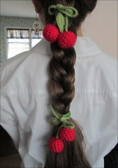 Made by Cute Stuff Inside - Crocheted cherries with leaves used for hair ties.
