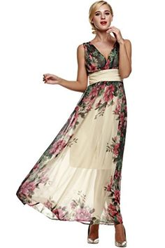 ANGVNS Women Floral Print Chiffon Long Dress with NecklaceBeigeX-Large