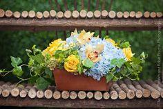 Blue hydrangea & cymbidium orchid make a lovely low arrangement. An Aspen Branch original. www.aspenbranch.com