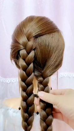 Hairstyles For Medium Length Hair Tutorial, Hair Tutorials For Medium Hair, Bun Hairstyles For Long Hair, Braids For Long Hair, Braided Hairstyles, Hair Twist Styles, Long Hair Styles, Hair Style Vedio, Hair Videos
