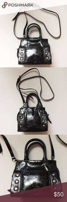 Simply Vera Wang mini black cross body bag Brand new and never used! Simply Vera Wang mini black patent leather studded cross body bag. This bag is tiny but super cute! Simply Vera Wang Bags Mini Bags
