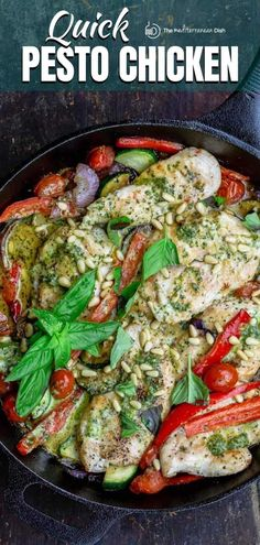 This juicy one-pan pesto chicken is the perfect weeknight meal with whatever vegetables you have on hand. Video & tips included.