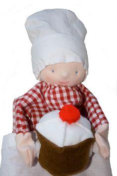 Handpop poppenkast pop bakker popje van MijnPopje op Etsy, €14.95