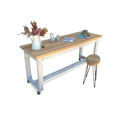 Kitchen Island Bench On Wheels eco recycled solid timber, petite island bench / kitchen table