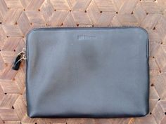 Jeff Thomsen Collection - Tablet and Document Cases, hand crafted, genuine leather - DOC002 Black Gem Soft and supple with a natural pebble
