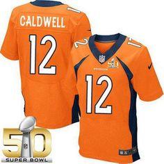 Men's Denver Broncos #12 Andre Caldwell Orange Team Color 2016 Super Bowl 50th Patch Bound Elite Jersey