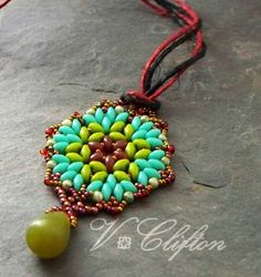 Tutorial Lotus Pendant Super Duo Bead Weaving, Step by Step ...