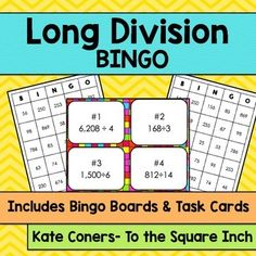 Long Division (no remainders) Bingo and Task CardsIncluded in this product:30 unique Long Division bingocards.25 Long Division calling cards (numbered to be used as task cards for independent or small group work)2 different task cards recording sheetAnswer KeyCheck out my other BINGO games  HERE Check out my other division products  HERE