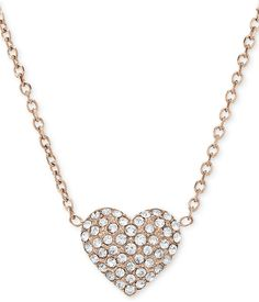 Michael Kors Necklace, Rose Gold-Tone Crystal Heart Pendant Necklace on shopstyle.com