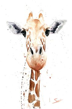 Watercolor painting of a giraffe by artist Eric Sweet