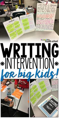 for Big Kids Writing Interventions for Middle Schoolers that Work!Writing Interventions for Middle Schoolers that Work! Fourth Grade Writing, Middle School Writing, Middle School English, Kids Writing, Teaching Writing, Writing Activities, Teaching Themes, 8 Parts Of Speech Activities, Writing Ideas