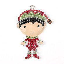 10pcs 51*33mm Elf Santa's Helper Christmas Rhinestone Pendant Chunky Necklace Beads, Girls Jewelry Accessories(China (Mainland))
