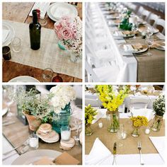 Burlap table runners and centerpiece ideas