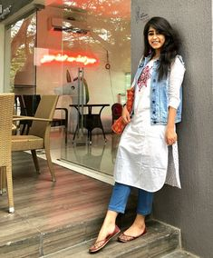what a combination of indowestern outfits  kurta with denim jacket loved this idea chic n stylish  #whitekurta#denimjecket#denim