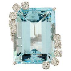 1950s Diamond and Aquamarine White Gold Ring $5,500