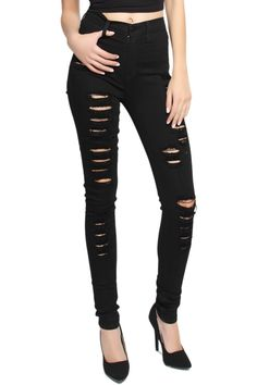TheMogan Women's Vintage High Waisted Ripped Skinny Jeans Black-1XL. HIGH QUALITY dyed black stretch denim!! Distressed details. Five pockets design. Concealed zip closure at front. High rise waist with belt loops. 57% rayon, 26% cotton, 16% polyester, 1% spandex.